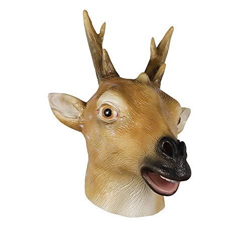 molezu Latex Deer Head Mask Halloween Costume Party Rubber Animal Head Mask Deer Antler Yellow and White]()