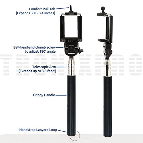 usa extendable 43 inches self portrait handheld selfie monopod black bluetooth wireless. Black Bedroom Furniture Sets. Home Design Ideas