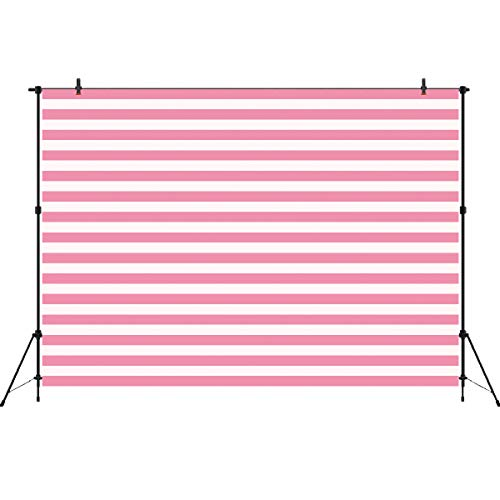 Photo Booth Backdrop White and Pink Stripe Background Valentine Abstract Photography Backdrops Girl's Birthday Party Decorations ()
