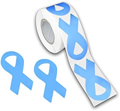 250 Prostate Cancer Awareness Light Blue Ribbon Shaped Stickers - (1 Roll - 250 Stickers) (ST-02-12)