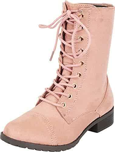 Forever Link Womens Round Toe Military Lace up Knit Ankle Cuff Low Heel  Combat Boots 071a32fbd