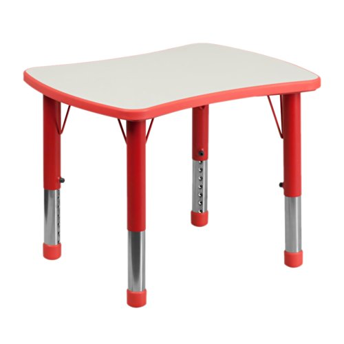 Rect Office Table - Flash Furniture 21.875'W x 26.625'L Height Adjustable Rectangular Red Plastic Activity Table with Grey Top [YU-YCY-098-RECT-TBL-RED-GG]