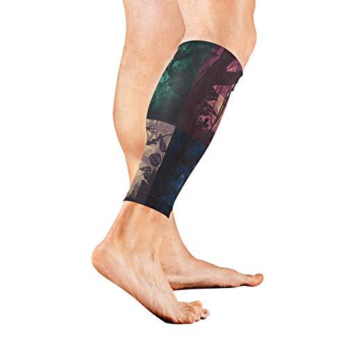 Leg Sleeve Beautiful Jungle Landscape Halloween Compression Socks Support Non Slip Calf Sleeves Pads for Running, Shin Splint, Calf Pain Relief, Runners, Medical, Air Travel, Nursing, Cycling 1Pair -