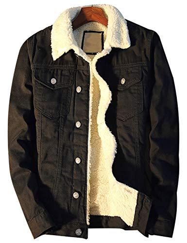 Omoone Men's Lapel Sherpa Fleece Lined Thicken Denim Jean Trucker Jacket Coats (Black Fleece White, L)
