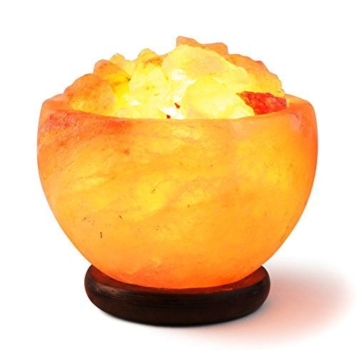 [Hand Crafted] HemingWeigh Rock Salt Bowl Lamp with Salt Chips, Wood Base, Electric wire & Bulb