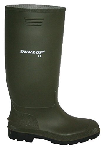 Dunlop–Botas de agua mujer, color negro y verde totalmente impermeable tamaño 3–