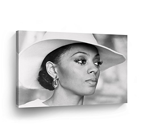 SmileArtDesign Diana Ross White Hat Black White Wall Art Canvas Print Beautiful African American Icon Artwork Home Decor Wrapped Wood Stretched Ready to Hang-%100 Handmade in The USA - 8x12 ()