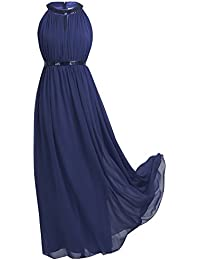 Women Chiffon Sequined Halter Bridesmaid Dress Long Evening Prom Gown