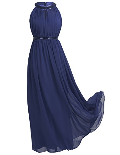 Freebily Women Chiffon Sequined Halter Bridesmaid Dress Long Evening Prom Gown Navy Blue (Sequined Halter Gowns)
