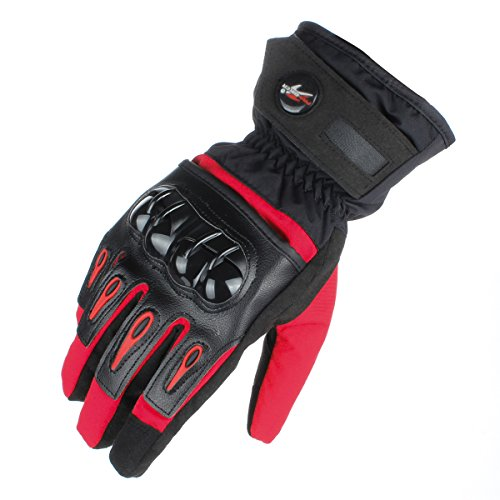 GES Motorcycle Riding Gloves Warm Winter Waterproof Touch Screen Gloves Full Finger Motorbike Cycling Gloves (L, Red)