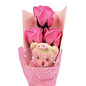 Abbie Home Flower Bouquet 3 Scented Soap Roses Gift Box with Cute Teddy Bear Birthday Mother's Day Valentine's Present-Pink 4