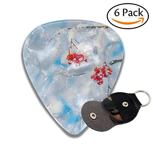 Red Rowan Berries Covered With Snow And Hoarfrost Colorful Celluloid Guitar Picks Plectrums For Guitar Bass .6 Pack 71mm