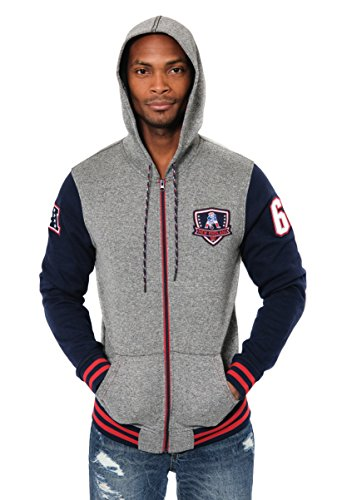 ICER Brands Adult Men Full Zip Fleece Hoodie Letterman Varsity Jacket, Team Color, Navy, X-Large (Team Jacket Color)