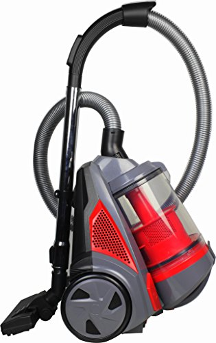 Ovente Cyclonic Canister Vacuum – Bagless – HEPA Filter – Includes Pet/Sofa Brush, Bendable Multi-Angle Brush, Combination Crevice Nozzle/Bristle Brush and More – Corded – ST2620 Series (Red)