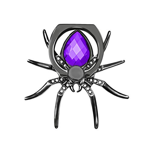 O'woda Cell Phone Finger Ring Holder Bionic Spider Design Grip Stand Diamond Metal 360 Degree Rotation for Phone Table and More ()