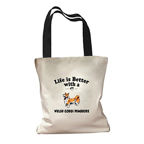 Life Is Better Welsh Corgi Pembroke Dog Canvas Colored Handles Tote Bag - - Shopping Pembroke Center
