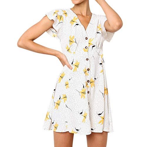 Keliay Dress for Women Summer,Women's Printing V-Neck Button Short Sleeve Mini Dress Princess Dress White