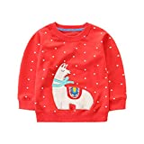 Hongshilian Unisex Kids Cute Cartoon Cotton Sweater Shirt(7T,Alpacas & Red)