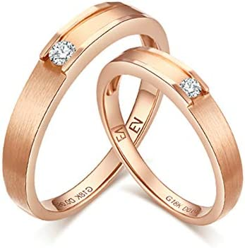 Gnzoe 18K Rose Gold Groove Shape Wedding Rings Sets for Men and Women Diamond Rose Gold Woman Size 85 Man Size 10