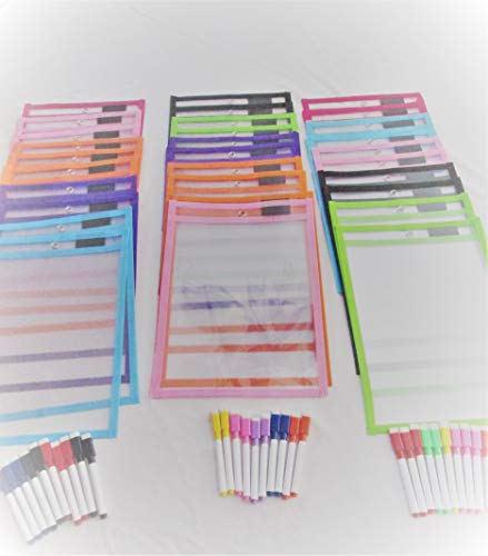 Reusable Dry-Erase pockets 25 pack with 25 Erasable Markers (30) by ZM777 (Image #4)