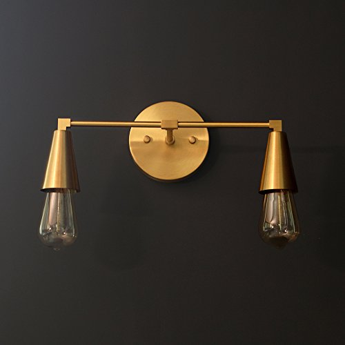 Modern Brass Double Cone Light Wall Sconce Vanity Brass 2 Bulb Cone Bathroom Sconce