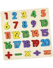 AiTuiTui Tränummer pusselbräda, 1–20 siffror och aritmetiska barn småbarn förskola lärande leksaker för tidigt lärande flerfärgade pussel block