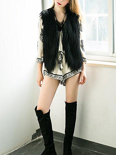 sans Casual chaude Fourrure Simplee Fausse Manches V Outwear Veste Gilet Manteau fluffy Femme Automne Col Noir Apparel en Hiver Douche Xxra0Ya8q