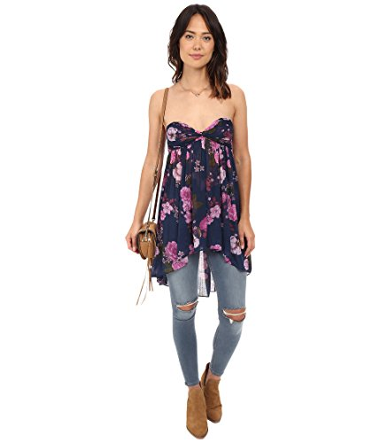 Free People Womens Mirage Baby Doll High-Low Tank Top Blue XS