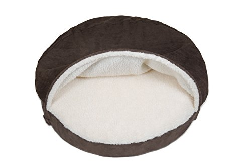 Furhaven Pet Dog Bed | Memory Foam Round Faux Sheepskin Snuggery Burrow Pet Bed for Dogs & Cats, Espresso, 35-Inch by Furhaven Pet (Image #6)