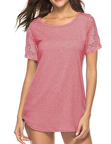 Koitmy Women's Lace Short Sleeve Round Neck T-Shirt Casual Blouse Tunics Tops Pink