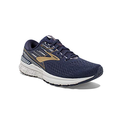 Brooks Mens Adrenaline GTS 19 Running Shoe - Navy/Gold/Grey - D - 12.0