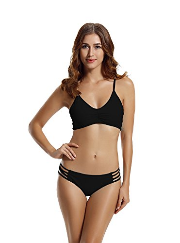 Zeraca Women's Strap Side Bottom Halter Racerback Bikini Swimsuits (M10, Black)
