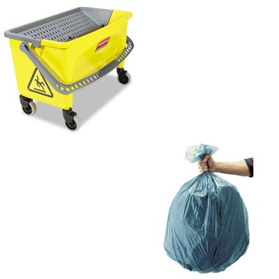 KITRCP501188GRARCPQ90088YW - Value Kit - Rubbermaid-Microfiber Press Ring Bucket (RCPQ90088YW) and Rubbermaid 5011-88 Tuffmade Polyliner Low-Density Can Liners, 55 Gallons (RCP501188GRA)