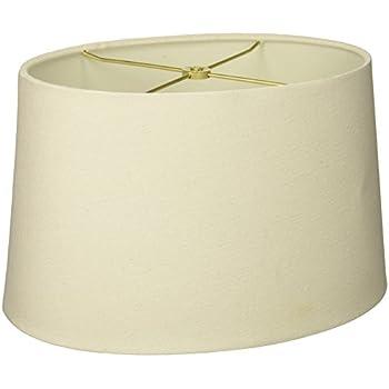 Charming Royal Designs Shallow Oval Hardback Lamp Shade, Linen White, 12 X 14 X 8.5