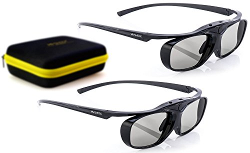High Contrast Cinema Vision Material - 2X Hi-SHOCK RF Pro Black Heaven | 3D Active Glasses for FullHD/HDR / 4k EPSON Projector Powerlite Home Cinema 2000, 2030, 2040, 2045, 3000, 3500, 3600e, 4030UB, 5020, 750HD | Rechargeable