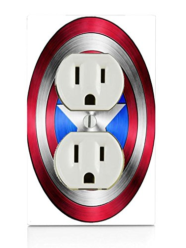 Captain America Shield Design Print Image Electrical Outlet Plate