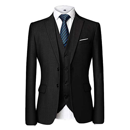 - MAGE MALE Men's 3 Pieces Suit Elegant Solid Two Button Slim Fit Single Breasted Party Blazer Vest Pants Set