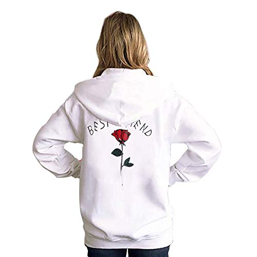 Hoodies Sweatshirt,Women's Best Friend Long Sleeve Rose Printed Pullover Tops Blouse by-NEWONESUN