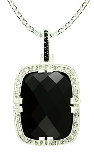 RB Gems 23.63 Carats Black Onyx with White Topaz Rhodium-Plated 925 Sterling Silver Statement Pendant Necklace