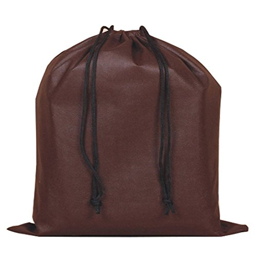 Santwo 2 Piece Non-woven Breathable Dust-proof Drawstring Handbags Storage Pouch (Coffee)