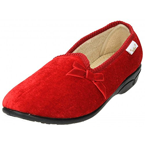 Dr Keller Slippers Shoes Cosy Warm Fleecy Lined With Bow Solid Heel Red
