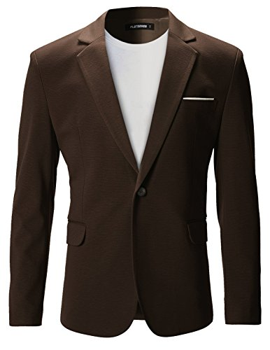 (FLATSEVEN Mens Slim Fit Casual Premium Blazer Jacket (BJ102) Brown,)