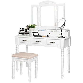 Amazon Com Bobkona Jaden Collection Vanity Set With Stool White Kitchen Amp Dining