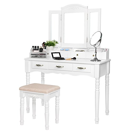 SONGMICS 7 Drawers Vanity Table Set with Tri-folding Mirror 6 Organizers Makeup Dressing Table with Cushioned Stool Easy Assembly White (Drawer Set)