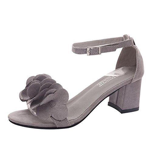 Juleya Women Summer Sandals Ladies Block Mid Heel Sandals Flowers Adorn Buckle Ankle High Heels Open Toe Shoes Grey Kc4nG