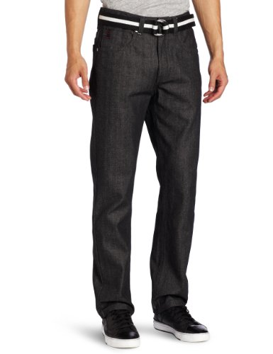 Southpole Men's Belted Long Denim with Matching Color Belt, Raw Black, 29x30