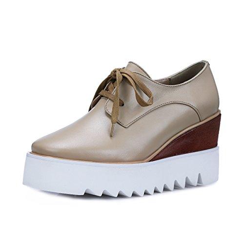 MINIVOG Women's Wedge Heel Treaded Square Toe Pump Shoes ...