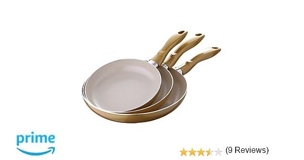 Bergner Aurum Set de sartenes, Aluminio, Dorado, 28 cm, 3 Unidades: Amazon.es: Hogar