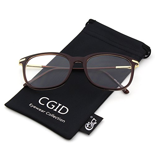 CGID CN79 Lunettes à verres transparents à monture décaille à branches métalliques hautement fashion brown