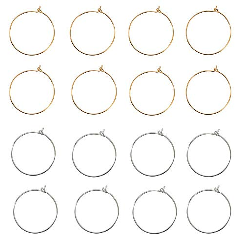 Floranea 25 MM Wire Glass Charm Rings 50 Pcs Gold 50 Pcs Silver Earring Breads Open Hoop for Distinguish Wire Glasses Making Jewelry Art Project Wine Parties Wedding Evening Favor